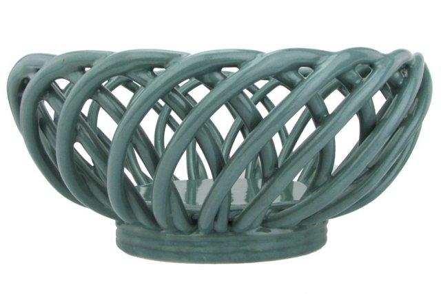 Oblong Ceramic Lattice Bowl
