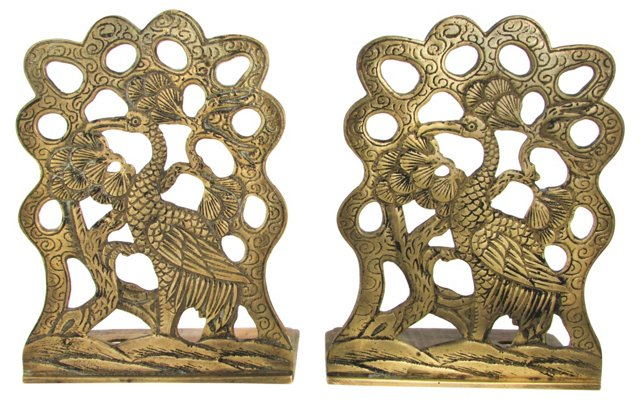 Cast Brass Crane Bookends