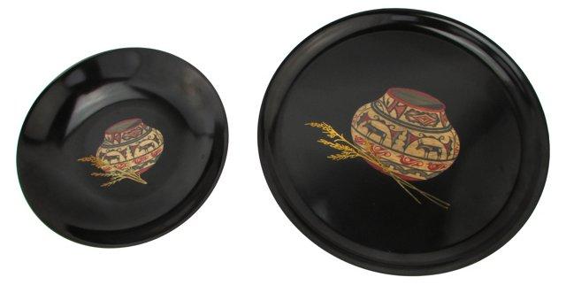 Zia Pottery Couroc Bowl & Tray