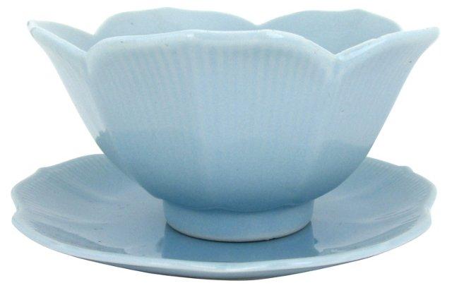 Porcelain Lotus Bowl & Dish