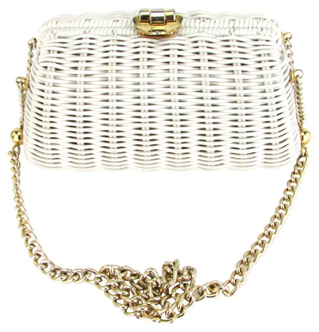 Wicker-Style Handbag w/ Goldtone Chain