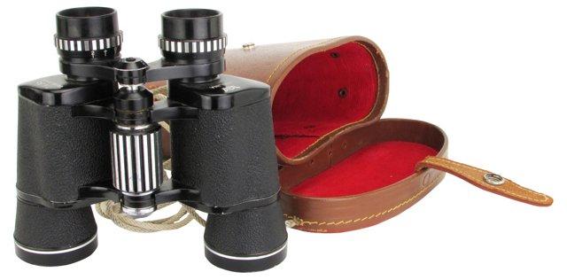 Midcentury Binoculars w/ Leather Case