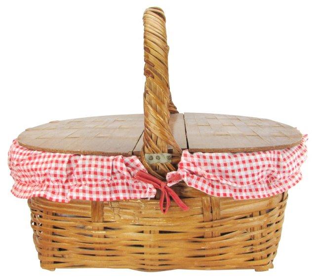 Picnic Basket w/ Red Gingham Liner