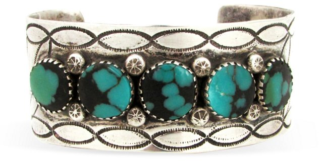 Stamped Navajo Cuff w/   Turquoise