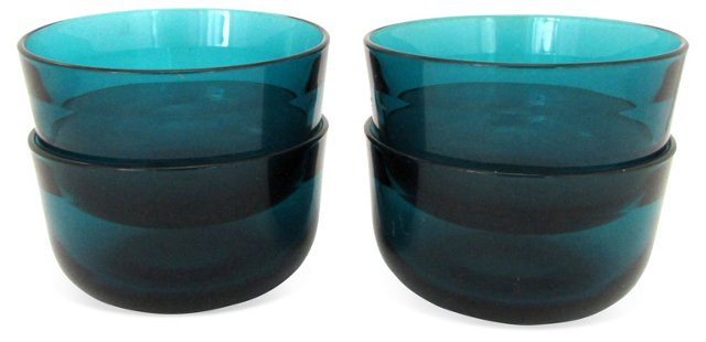 Teal Glass Bowls, S/4
