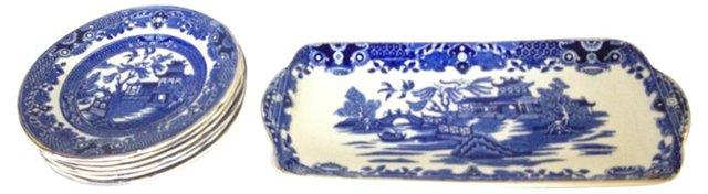 Blue Willow Sandwich Set, 7 Pcs