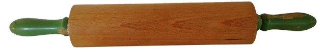 Wood Rolling Pin w/ Green Handles