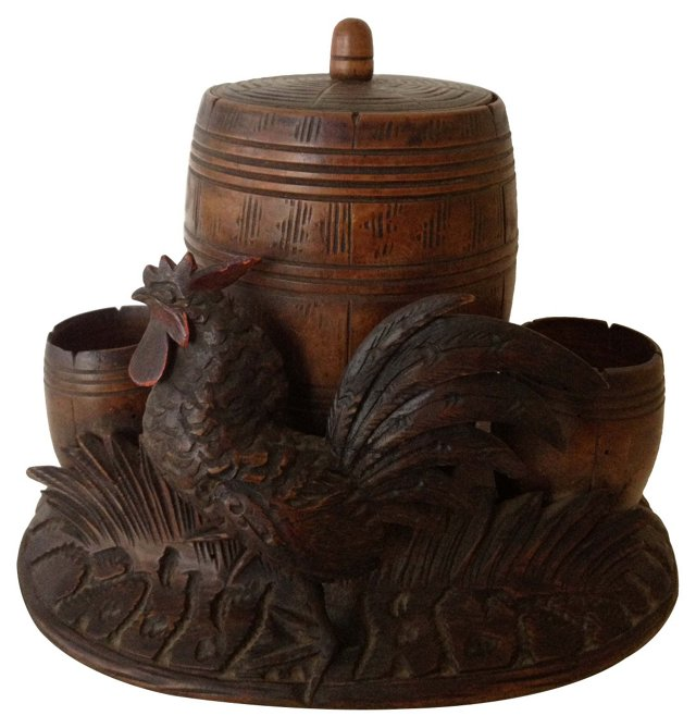 Antique Black Forest Rustic Caddy