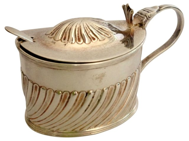 Antique Mustard Pot w/ Spoon