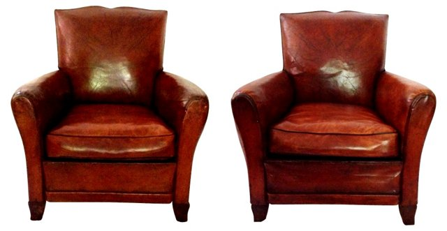 French Art Deco Leather Armchairs, Pair