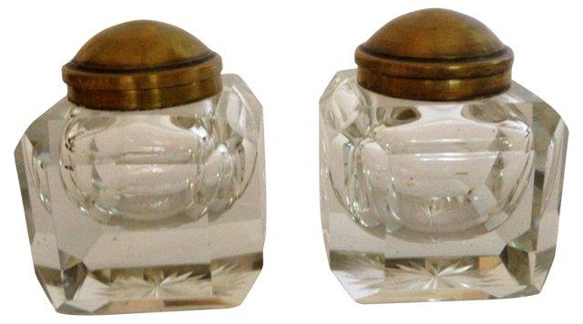 English Inkwells w/ Brass Tops, Pair