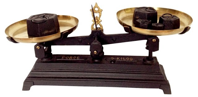 French Iron & Brass Scale w/ Weights