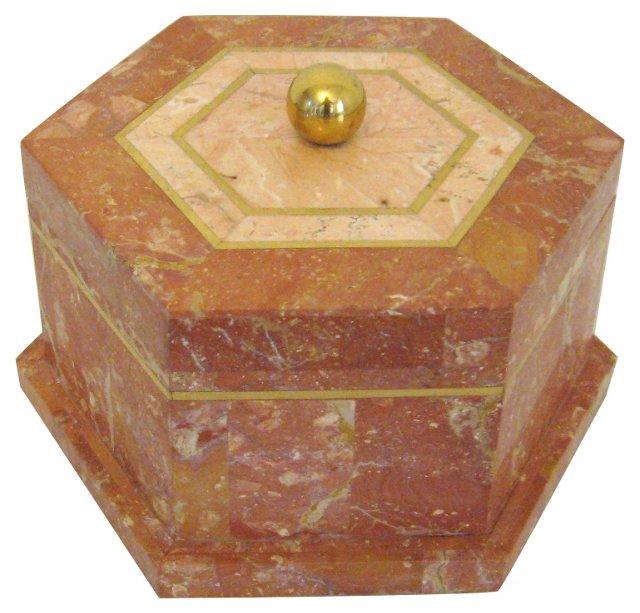 Coral Stone & Brass Box w/ Lid
