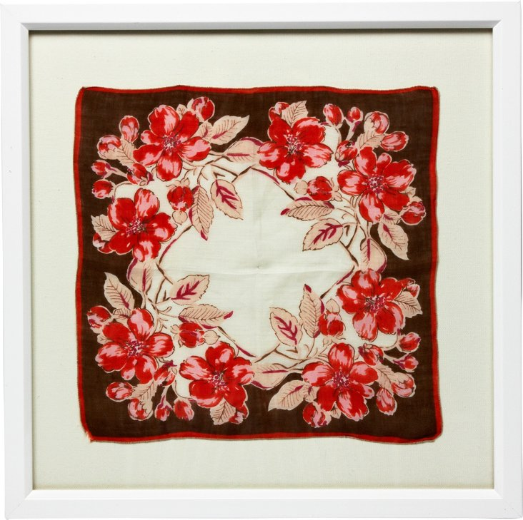 Framed Brown & Pink Floral Handkerchief