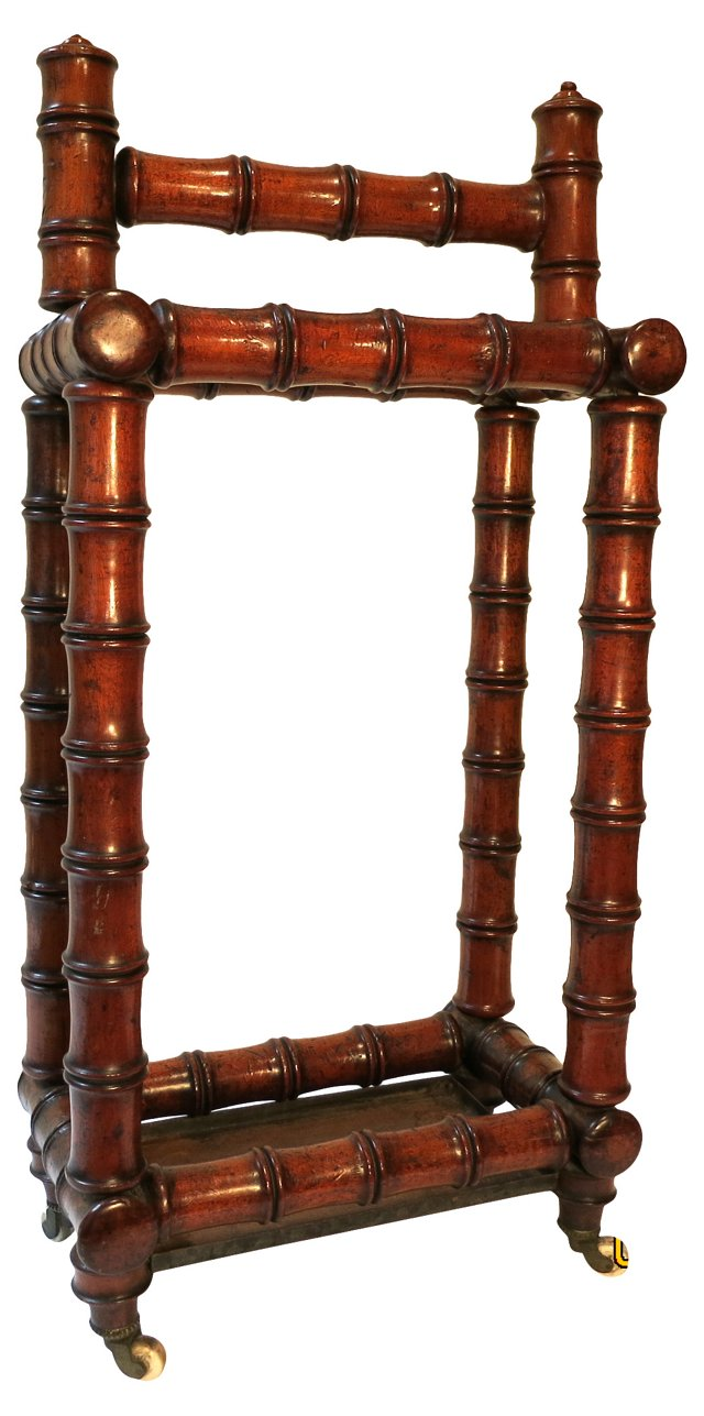 19th-C. Faux-Bamboo Umbrella Stand
