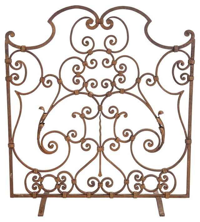 1920s Wrought Iron Fire Screen