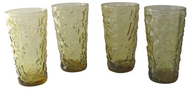Amber Highball Glasses, S/4