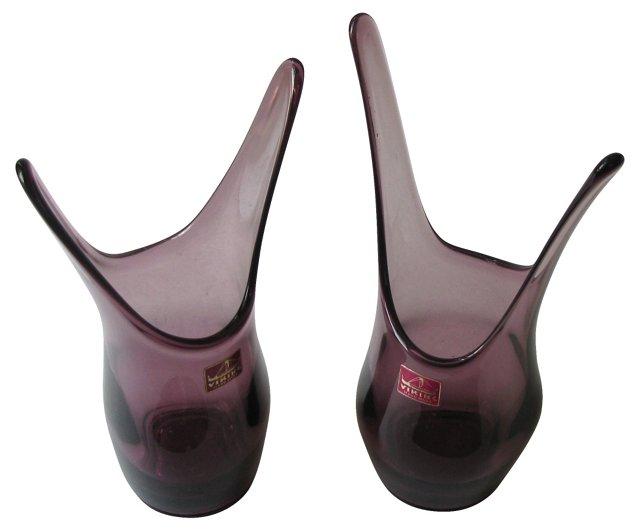 Amethyst Art Glass Vases, Pair