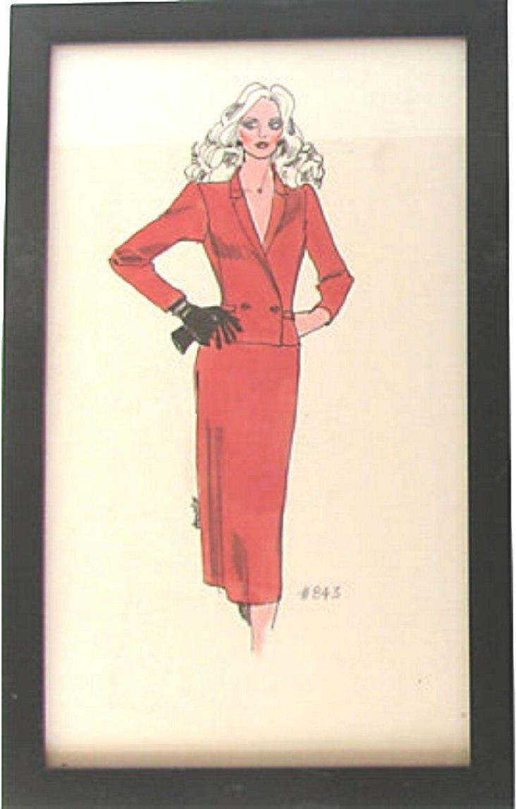 Framed Fashion Design Sketch