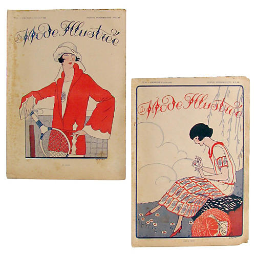 French Fashion Journals,c.1920, Pair