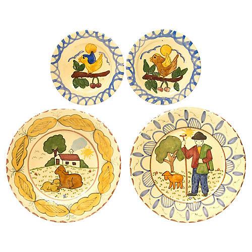Italian Primitive H/P Plates, 4 Pcs