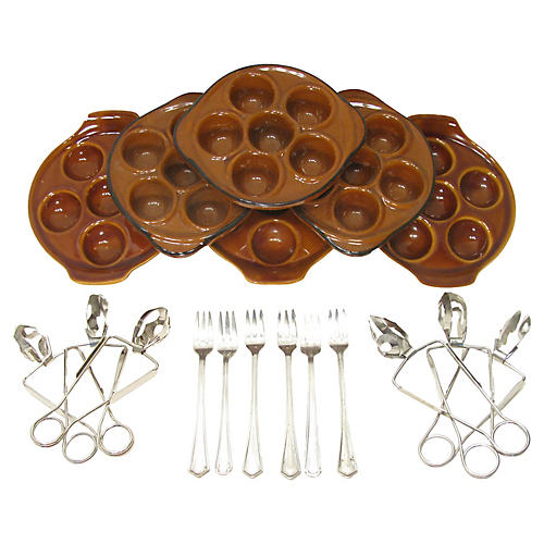 French Escargot Serving Set, 18 Pcs