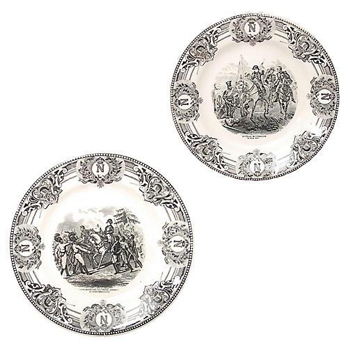 Napoleon Transferware Plates, Pair