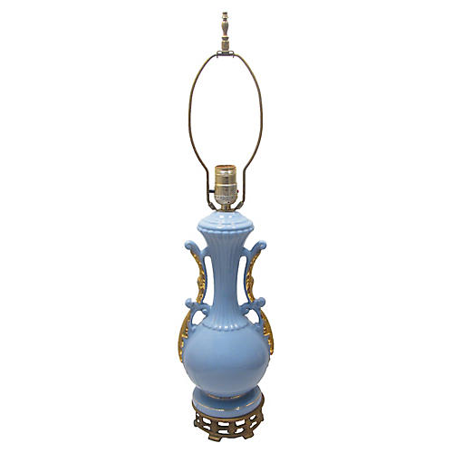 French Blue & Gold Lamp