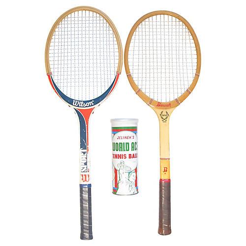 Wooden Tennis Set, 3 Pcs