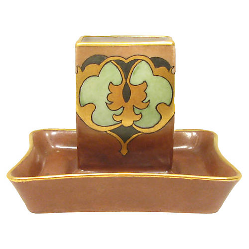 1930s Art Nouveau Match Holder & Ashtray