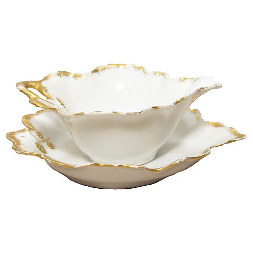 French Limoges Sauce Bowl & Underplate
