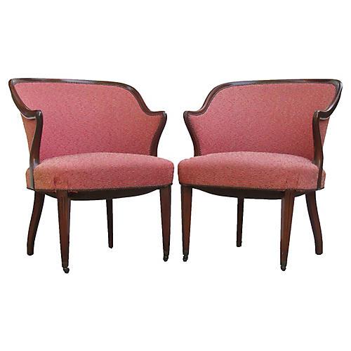 Hollywood Regency Barrel Chairs, Pair