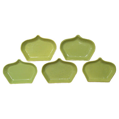 Chartreuse Green Tapas Plates, S/5