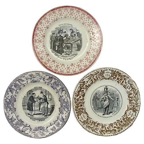 19th-C. Transferware Plates, S/3