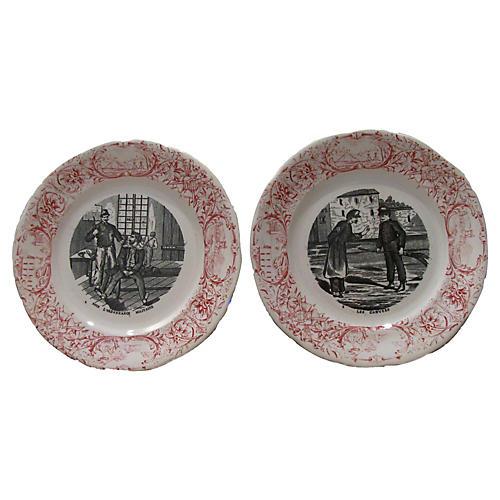 Antique French Transferware Plates, Pair