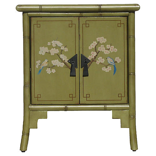 Green Chinoiserie Faux-Bamboo Cabinet