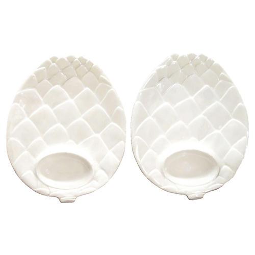 Italian Artichoke Plates, Pair