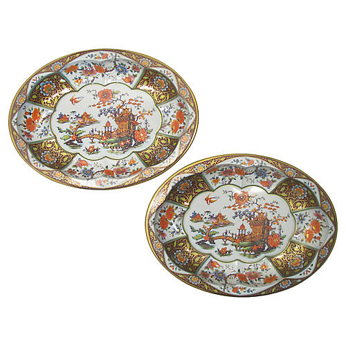 Daher Tole Chinoiserie Bowls, Pair