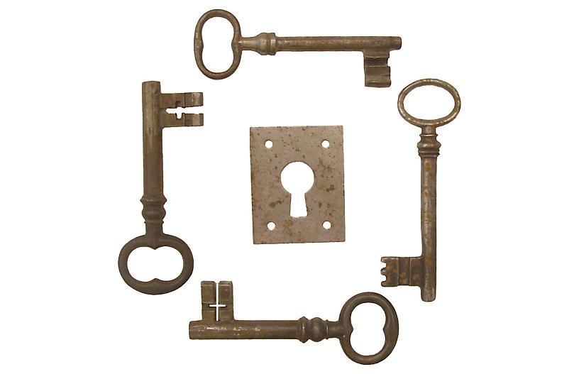 French Iron Keys & Escutcheon Plate, S/5