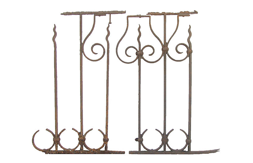 French Iron Architectural Elements, Pair