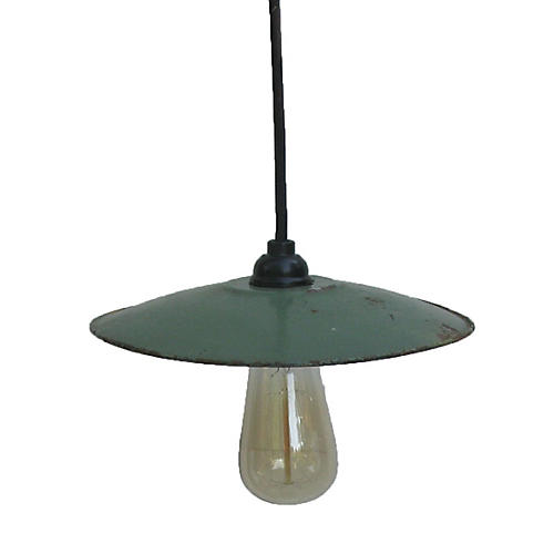 French Traditional Green Enamel Light