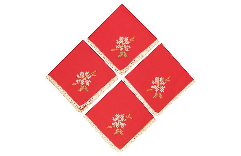 Red Cross-Stitch Napkins, S/4