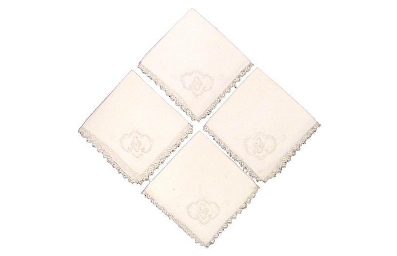 Embroidered Linen Napkins, S/4