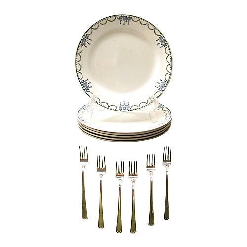 French Art Deco Salad Set, 12 Pcs