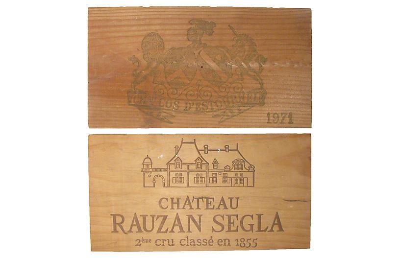 Vintage Wine Box Panels, Pair