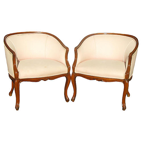 French Art Deco Style Barrel Chairs, S/2
