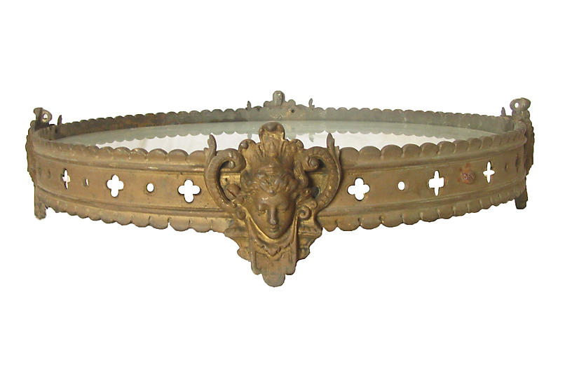 Large French Bronze & Mirror Plateau