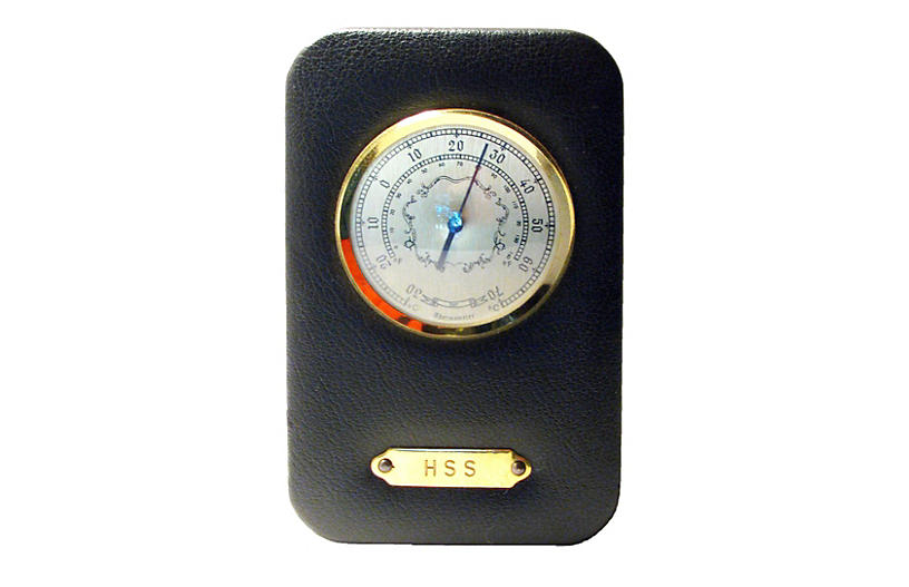 English Leather / Brass Thermometer