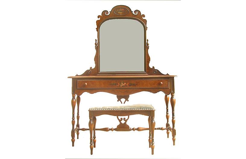 Berkey & Gay Vanity, Mirror & Bench, S/3