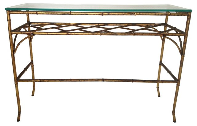 Gilt Faux-Bamboo Console Table